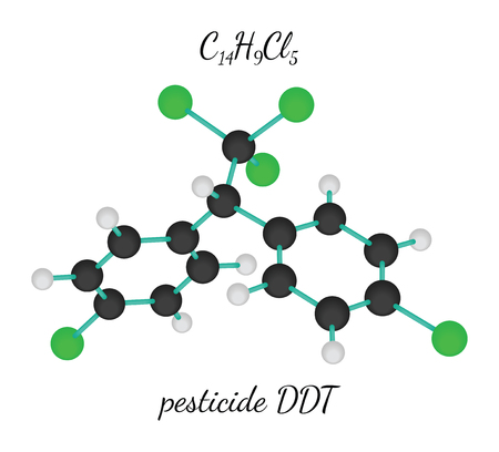 borax: C14H9Cl5 pesticide DDT 3d molecule isolated on white