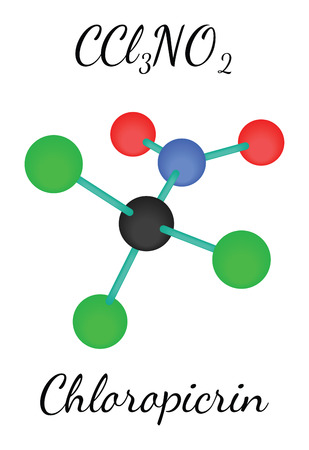 CCl3NO2 chloropicrin 3d molecule isolated on white Illustration