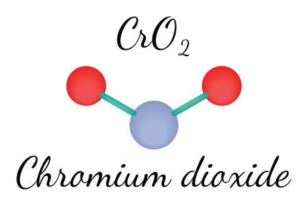 chromium: CrO2 chromium dioxide 3d molecule isolated on white