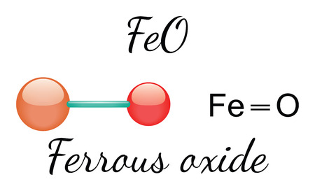 ferrous: FeO ferrous oxide 3d molecule isolated on white