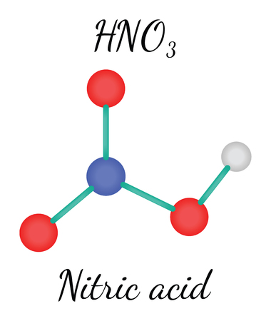 HNO3 nitric acid 3d molecule isolated on white