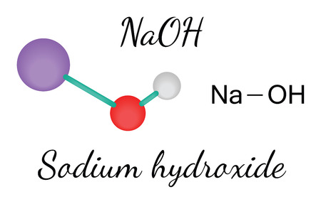 hydroxide: NaOH sodium hydroxide 3d molecule isolated on white