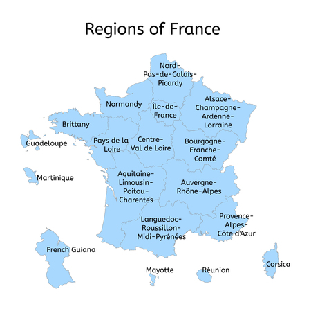 mayotte: France administrative map with new regions on white