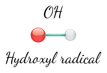 radical: OH hydroxyl 3d radical isolated on white