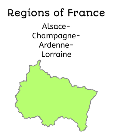 champagne region: France administrative map of Alsace-Champagne-Ardenne-Lorraines region on white