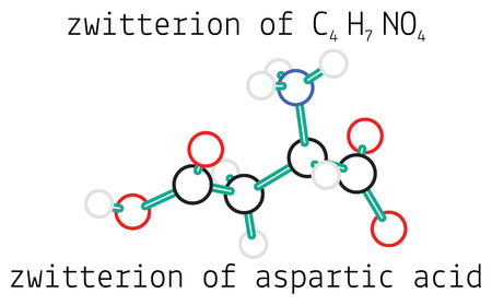 amino: C4H7NO4 zwitterion of aspartic acid 3d amino acid molecule isolated on white Illustration