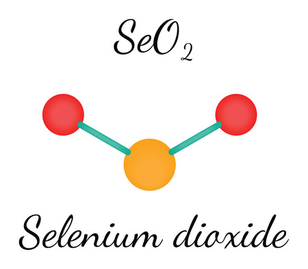selenium: SeO2 selenium dioxide 3d molecule isolated on white