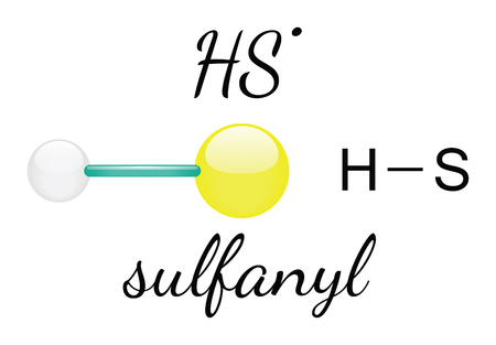HS sulfanyl 3d molecule isolated on white