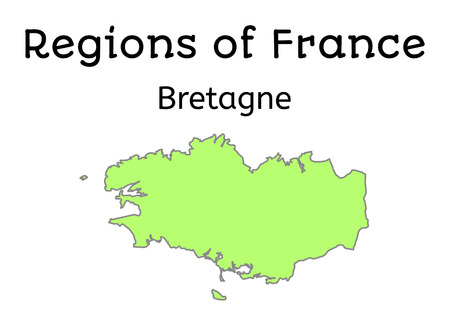 brittany: France administrative map of Brittany region on white Illustration
