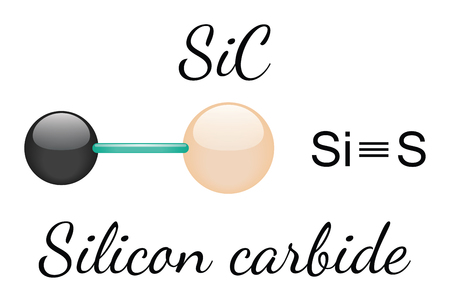 silicio: Carburo de silicio SiC mol�cula 3d aislado en blanco Vectores