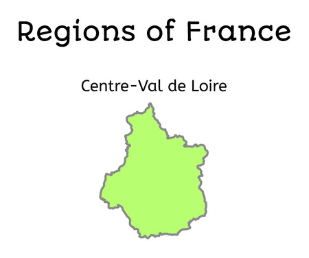 France administrative map of Centre-Val de Loire region on white