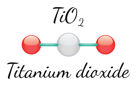 titanium: TiO2 titanium dioxide 3d molecule isolated on white Illustration