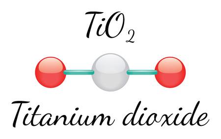 TiO2 titanium dioxide 3d molecule isolated on white Ilustração