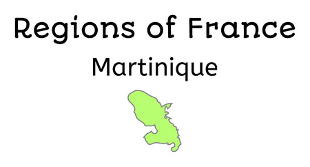 geographical: France administrative map of Martinique region on white
