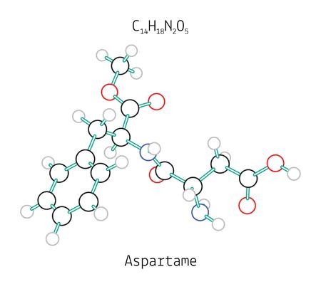 aspartame: C14H18N2O5 aspartame 3d molecule isolated on white