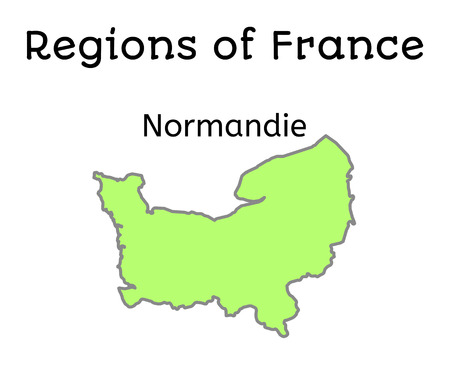 normandy: France administrative map of Normandy region on white