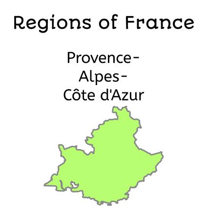 region: France administrative map of Provence-Alpes-Cote dAzur region on white
