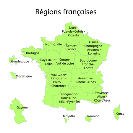 regions: France administrative map with new regions with original french names on white