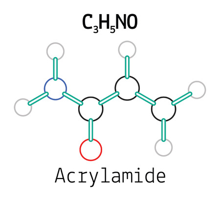 amide: C3H5NO acrylamide 3d molecule isolated on white