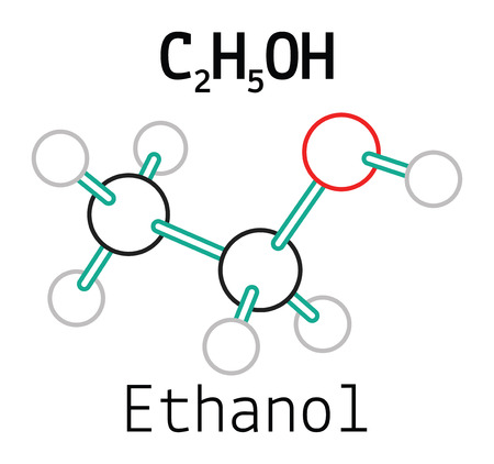 hydroxide: C2H5OH ethanol 3d molecule isolated on white Illustration