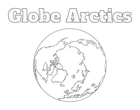 arctic: Hand-drawn globe of the world with view over the Arctic isolated on white Illustration