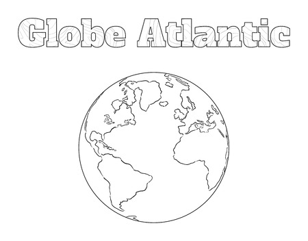 atlantic: Hand-drawn globe of the world with view over the Atlantic isolated on white