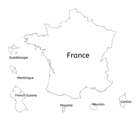 martinique: France and franch territory hand-drawn map isolated on white