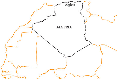 algiers: Algeria country with its capital Algiers in Africa hand-drawn sketch map isolated on white Illustration