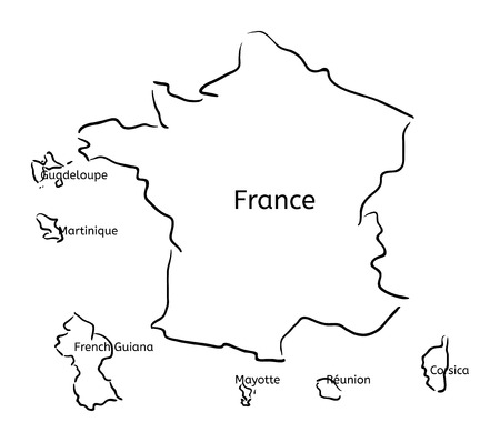 France and franch territory hand-drawn sketch map isolated on white