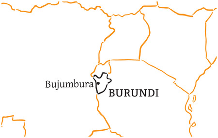 bujumbura: Burundi country with its capital Bujumbura in Africa hand-drawn sketch map isolated on white
