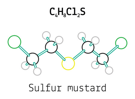 sulfur: C4H8Cl2S Sulfur mustard 3d molecule isolated on white Illustration