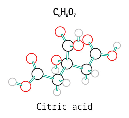 citric: C6H8O7 Citric acid 3d molecule isolated on white Illustration