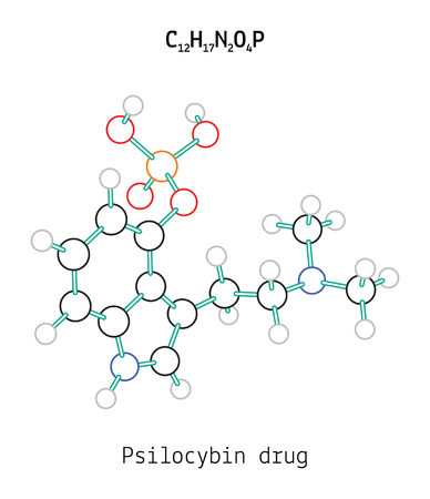 psilocybin: C12H17N2O4P Psilocybin 3d molecule isolated on white