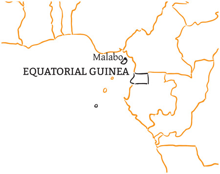 equatorial guinea: Equatorial Guinea country with its capital Malabo in Africa hand-drawn sketch map isolated on white Illustration