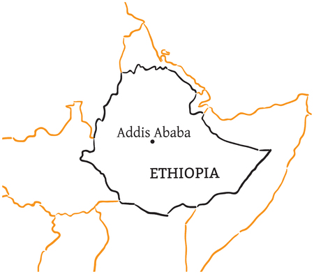 addis: Ethiopia country with its capital Addis Ababa in Africa hand-drawn sketch map isolated on white