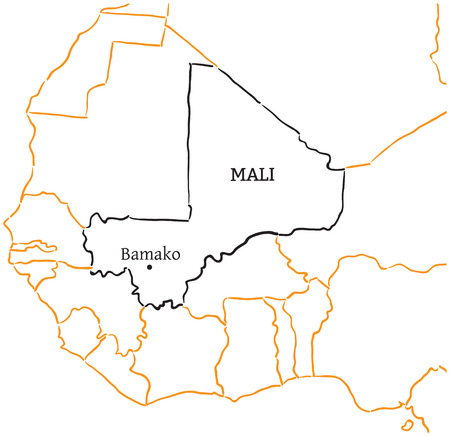 bamako: Mali country with its capital Bamako in Africa hand-drawn sketch map isolated on white
