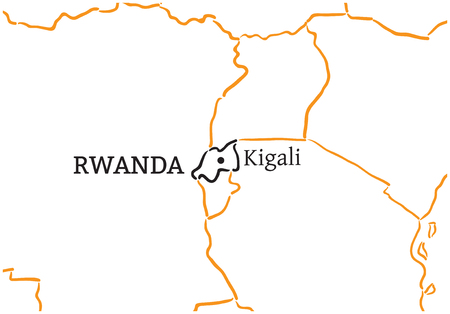 kigali: Rwanda country with its capital Kigali in Africa hand-drawn sketch map isolated on white