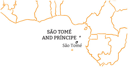 tome: Sao Tome and Principe country with its capital Sao Tome in Africa hand-drawn sketch map isolated on white