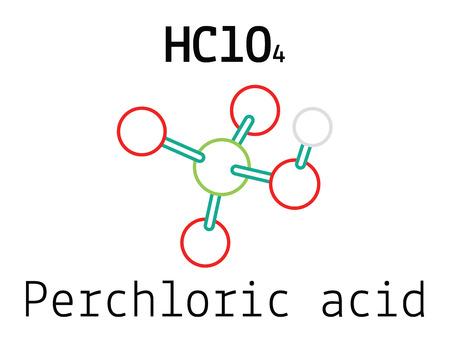 ácido: HClO4 perclórico 3d molécula de ácido aislado en blanco Vectores