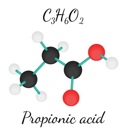 �cido: C3H6O2 propi�nico 3d mol�cula de �cido aislado en blanco