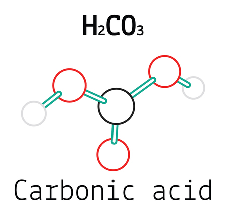 H2CO3 Carbonic acid 3d molecule isolated on white  イラスト・ベクター素材