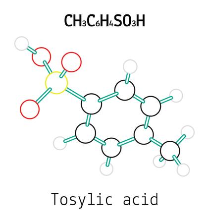 acido: CH3C6H4SO3H tos?lico 3d molécula de ácido aislado en blanco