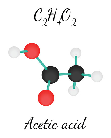 acetic: C2H4O2 acetic acid 3d molecule isolated on white Illustration