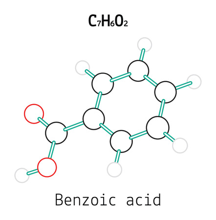 C7H6O2 Benzoic acid 3d molecule isolated on white