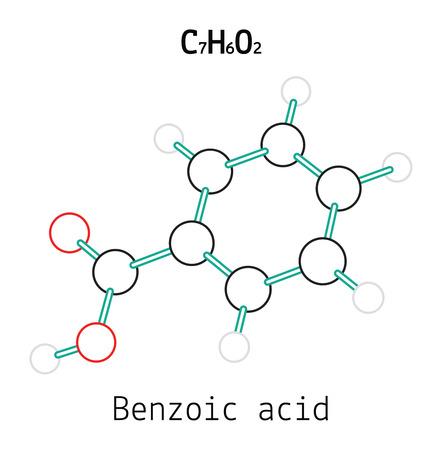 benzoic: C7H6O2 Benzoic acid 3d molecule isolated on white