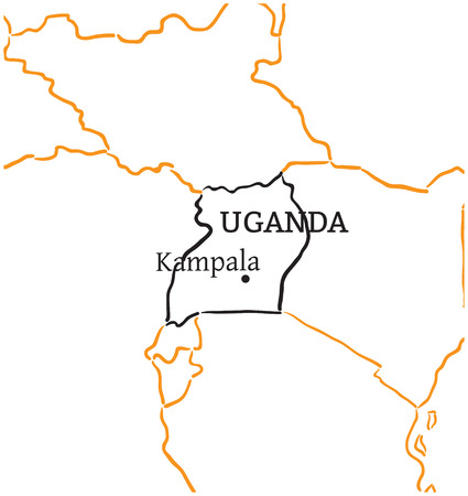 kampala: Uganda country with its capital Kampala in Africa hand-drawn sketch map isolated on white Illustration
