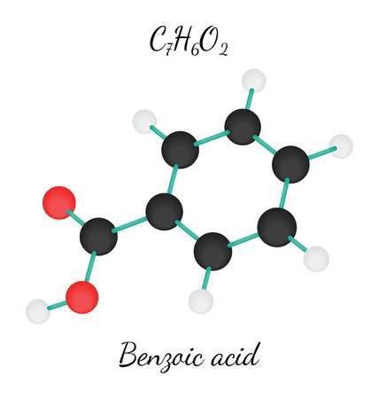 benzoic: C7H6O2 Benzoic acid 3d molecule isolated on white