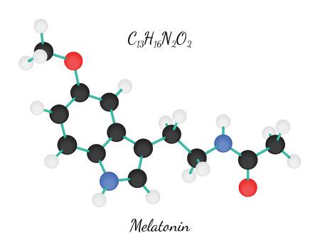 hormone: C13H16N2O2 Melatonin 3d molecule isolated on white Illustration