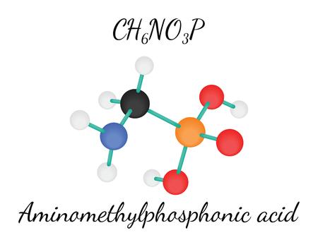 acido: CH6NO3P aminometilfosfónico 3d molécula de ácido aislado en blanco