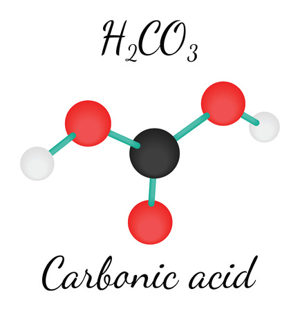 carbonic: H2CO3 Carbonic acid 3d molecule isolated on white Illustration